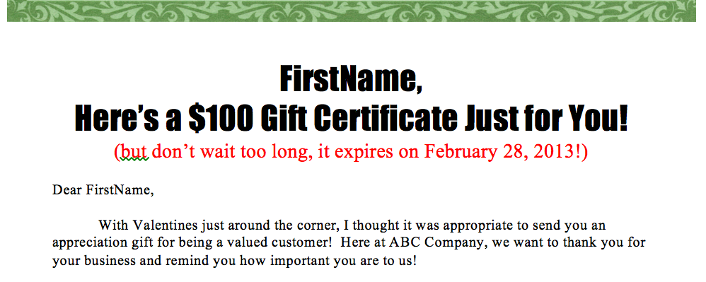 Create Your Own Personalized Gift Certificate